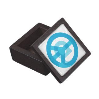 Blue @Peace Sign Social Media At Symbol Peace Sign Gift Box