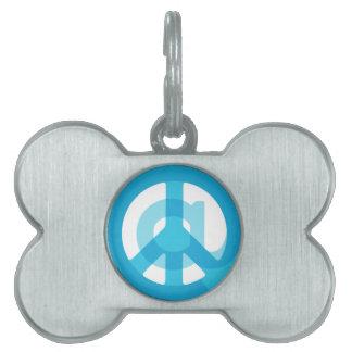 Blue @Peace Sign Social Media At Symbol Peace Sign Pet ID Tag