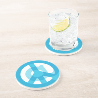 Blue @Peace Sign Social Media At Symbol Peace Sign Sandstone Coaster