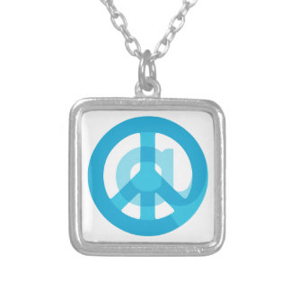 Blue @Peace Sign Social Media At Symbol Peace Sign Square Pendant Necklace