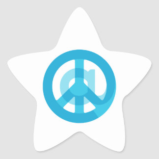 Blue @Peace Sign Social Media At Symbol Peace Sign Star Sticker