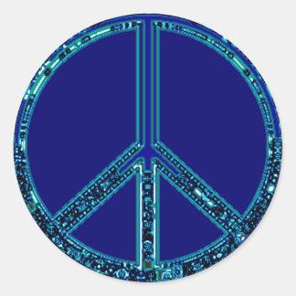 Blue Peace Sign Round Sticker