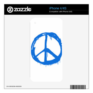 Blue Peace Sign Symbol Decals For The iPhone 4S