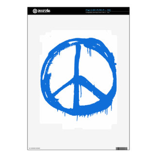Blue Peace Sign Symbol iPad 2 Decals