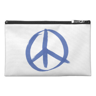 Blue Peace Sign Travel Accessories Bag