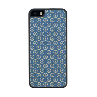 Blue Peace Signs Wood Phone Case For iPhone SE/5/5s