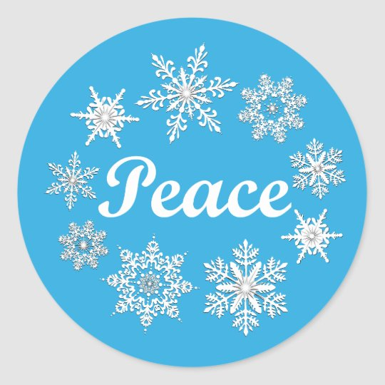 Blue Peace Snowflakes Classic Round Sticker