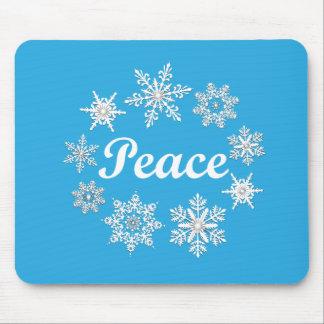 Blue Peace Snowflakes Mousepad