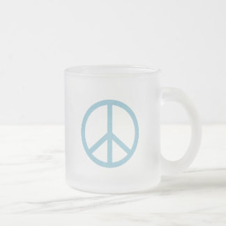 Blue Peace Symbol Frosted Glass Coffee Mug