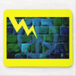 Blue Peace Symbol Hit by Lightning Mouse Pad