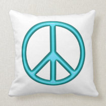 Blue Peace Symbol Throw Pillow