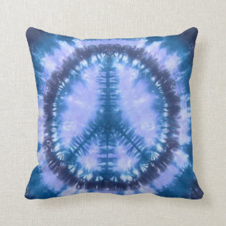 Blue peace tie dye throw pillow