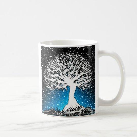 Blue Peace Tree with Soft Snow Coffee Mug