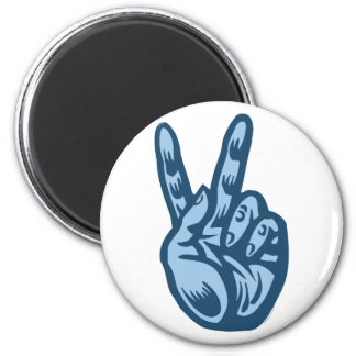 Blue - Peace V-Sign 2 Inch Round Magnet