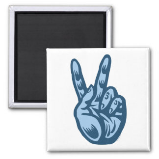 Blue - Peace V-Sign 2 Inch Square Magnet
