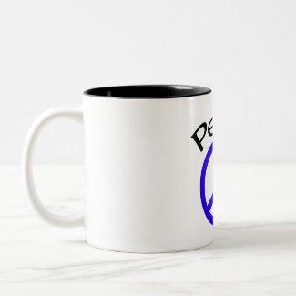 Blue Peace & Word mug