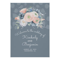 Blue Peach and Dusty Rose Wedding Welcome Sign