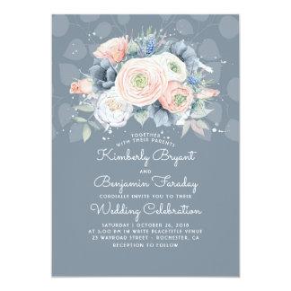 Blue Peach and Pink Floral Elegant Wedding Invitation