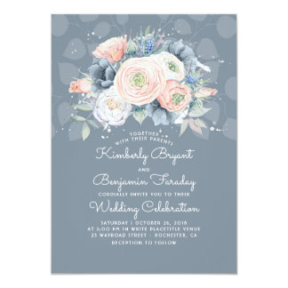Blue Peach and Pink Floral Elegant Wedding Invitation