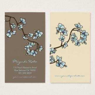 Blue Peach Blossoms Sakura Flowers Profile Card