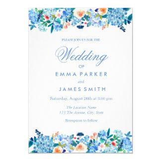Blue Peach Floral Peonies Wedding Invitation