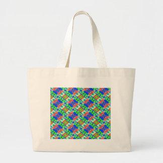 Blue Peach Lime Plaid Design Large Tote Bag
