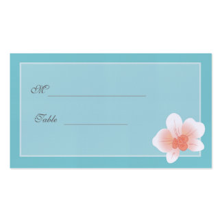 Blue & Peach Orchid Wedding Placecard Double-Sided Standard Business Cards (Pack Of 100)