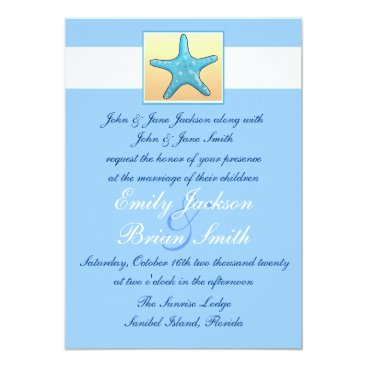 Beach Themed Blue peach pastel starfish theme wedding invites