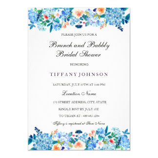 Blue Peach Peonies Brunch & Bubbly Invitation