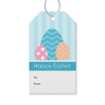 Blue Peach Pink Eggs Happy Easter Gift Tags