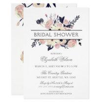 Blue & Peach Pink Floral Spring Bridal Shower Card
