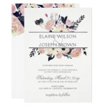 Blue & Peach Pink Floral Spring Wedding Invitation at Zazzle