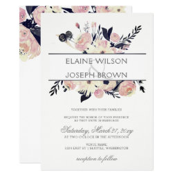 Blue And Coral Pink Floral Wedding invitations Set