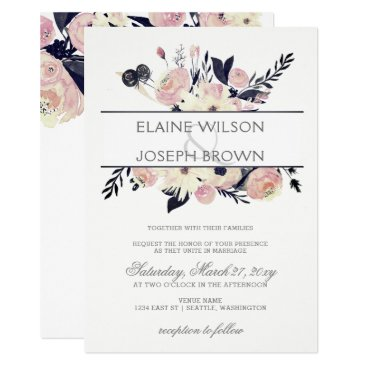 Blue & Peach Pink Floral Spring Wedding Invitation