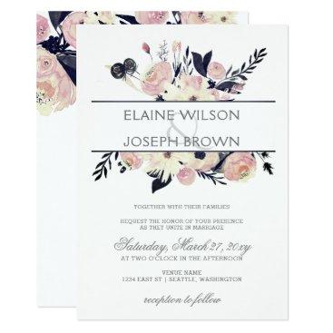 Blue & Peach Pink Floral Spring Wedding Invitation