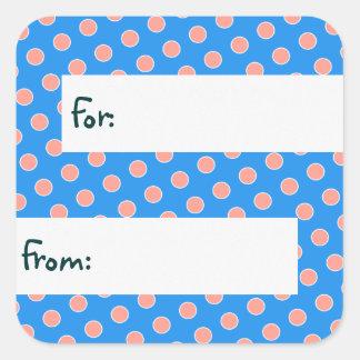 Blue & Peach Polka Dots Gift Tag Stickers