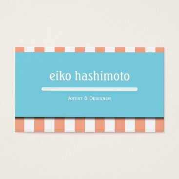 Professional Business Blue & Peach Stripe Appointment Business Card
