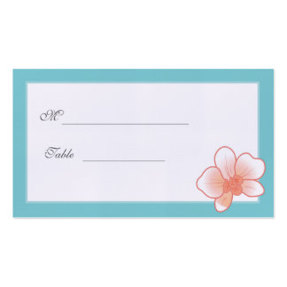 Blue & Peachy Pink Orchid Placecard Double-Sided Standard Business Cards (Pack Of 100)