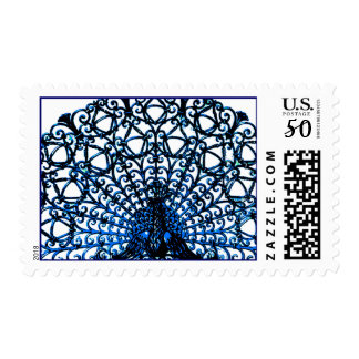 Blue Peacock Abstract Design Postage