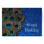 Blue Peacock Bouquet Glittery Still Life Card