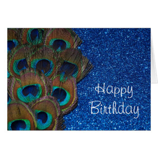 Blue Peacock Bouquet Glittery Still Life Card