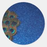 Blue Peacock Bouquet Glittery Still Life Classic Round Sticker