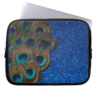 Blue Peacock Bouquet Glittery Still Life Laptop Sleeve