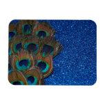Blue Peacock Bouquet Glittery Still Life Magnet
