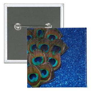 Blue Peacock Bouquet Glittery Still Life Pinback Button