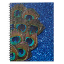 Blue Peacock Bouquet Glittery Still Life Spiral Notebook
