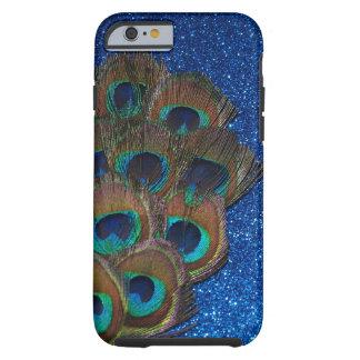 Blue Peacock Bouquet Glittery Still Life Tough iPhone 6 Case