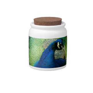 Blue Peacock Candy Jar