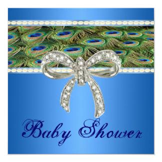 blue peacock diamond bow baby shower invitation