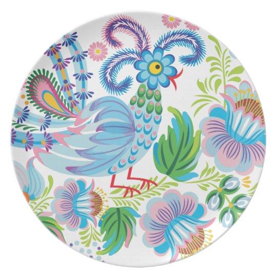 Blue Peacock Dinner Plate